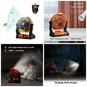 Camping Fan With Led Lantern, Portable Rechargeable Usb Table Fan, Battery Opera
