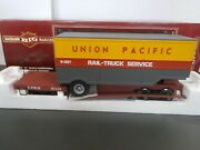 Bachmann Union Pacific Flat Car 57114 With U.p. Trailer Lot F G Scale