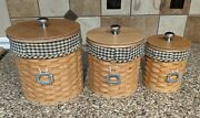 Longaberger Basket Canister Set- Sealed Plastic Containers Fabric Liners Tie-ons