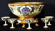 Antique Jean Pouyat Jp Limoges Punch Bowl With Cups Gilded Hand Painted Signed
