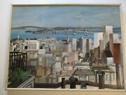 Large 1960 Bay Are Landscape Cityscape City Urban Roof Top View Modernism