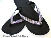 Havaianas Flip Flops Black Jeweled With 450 Crystals Ab Iridescent
