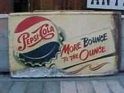 Large Antique Painted Metal Pepsi Sign Rust And Paint Loss Hard To Find Pick Up