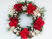 Christmas Grapevine With Red Hydrangeas Green Balls, Gold Balls, Red Berries