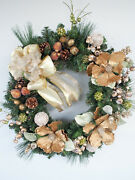 Christmas Wreath With Gold Magnolias Frosted Fruit, Frosted Balls, Pine Cones