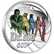2021 Tuvalu 50 Cents James Bond 007 Dr. No 1/2 Oz Silver Proof Coin - New