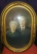 Vintage Large Oval Gesso On Wood Ornate Picture Frame With Convex Glass