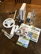 Nintendo Wii W/ Mario Kart, Wii Sports, Play, Remote, Wheel And Nunchuck Tested