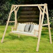 Wooden Porch Swing Natural Wood Patio Outdoor Yard Garden Bench Chair