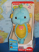 Fisher Price Soothe And Glow Blue Seahorse Ocean Sounds Brand New