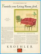 1929 Kroehler Davenport Bed Couch Sleeper Sofa 1920and039s Living Room Furniture Ad