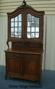 61756 Antique Louis Xv Oak China Cabinet Curio Server Sideboard 105 Tall