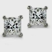 1.2ct Princess Cut Real Diamond Solitaire Stud Earrings H Si White Gold