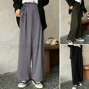 Womenand039s Fashion Ol Office Solid Loose Pants High Waist Full Length Long Trousers