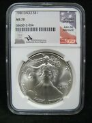 1986 American Silver Eagle Ngc Ms 70 Mercanti Signed Label