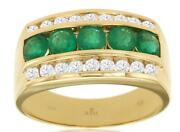 Wide 2.06ct Diamond And Aaa Emerald 14kt Yellow Gold 3d Channel Classic Mens Ring