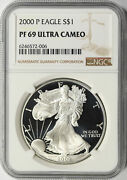 2000-p 1 Proof American Silver Eagle Ngc Pf69ucam