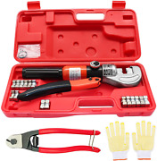 Hydraulic Cable Crimper Hand Tool Cutter 10 Ton 1/8 3/16 Cable Railing Fittings
