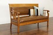 Victorian Antique Oak Railroad Bench Or Hall Settee, New Leather 37825