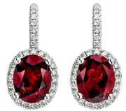 4.61ct Diamond And Aaa Rhodolite 14k White Gold Oval And Round Halo Hanging Earrings