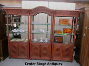 52179 Tommy Bahama   3 Section Curio Cabinet Wicker Wall Unit Bookcase