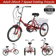 Adult's Folding Tricycle 20'' Wheels 7 Speed Bike Foldable Cruiser Trike Red New