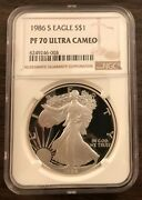 1986-s / Silver Eagle Ngc Pf70 Ucam /1st Year Silver Eagle/ No Higher Grade