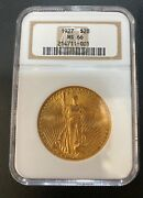 1927 20 St Gaudens Ngc Ms66 Gold Coin