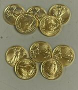 Lot Of 10 Gold 2021 Gold 1/10 Oz American Eagle 5 Us Mint Type 2 Design Coins