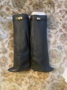 Givenchy Shark Tooth Black Leather Boots - Sz 9.5 Women's - Sold Out In Stores