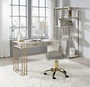 Acme Tyeid Desk In Antique White And Gold Finish
