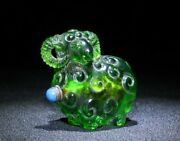 Old Chinese Peking Glass Snuff Bottle Carved Green Bottles Antique Carving Sheep
