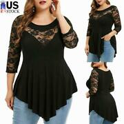 Plus Size Womenand039s Lace Tunic Tops T Shirt Ladies O Neck Pleated Pullover Blouse