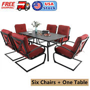 Patio Dining Set Outdoor Furniture Of 7 Metal Table With Umbrella Spring Chairs