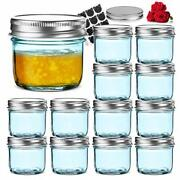 12 Pack 4 Oz Regular Mouth Glass Jars With Silver Metal Airtight Lids, Fashioned