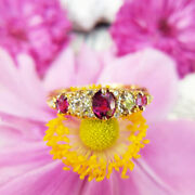 Antique Victorian 18ct Gold Ruby And Diamond Five Stone Ring, Vintage Uk Size Q