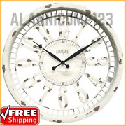Cottage Farmhouse Wall Clock Large Round Home Office Decor Antique Cream Finish
