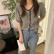 Women's Casual Summer Tops Long Sleeve Cotton Girls Blouse Plus Size Outfits New