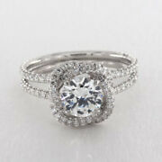 Real Diamond Wedding Ring 14k Solid White Gold Round Cut 1.15 Ct Size 5 6 7 8 9