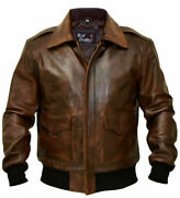 A-2 G-1 Brown Bomber Aviator Flight Navy Distressed Menand039s Real Leather Jacket