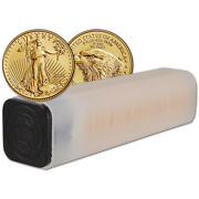2021 American Gold Eagle Type 2 1/10 Oz 5 1 Roll Fifty 50 Bu Coins In Mint Tube