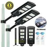 2x 9900000lm 250w Solar Street Light Commercial Dusk-to-dawn Area Road Lamp+pole