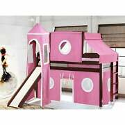 Jackpot And Princess Low Loft Twin Bed With Slide, Tent Cherry With Pink And