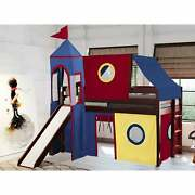 Jackpot And Princess Low Loft Twin Bed With Slide, Tent Cherry With Red Blu
