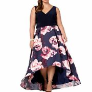 X By Xscape New Womenand039s Plus Size Mesh-inset High-low Ball Gown Dress 20w Tedo