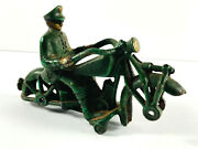 Vtg Hubley Cast Iron Police Cop Motorcyle 7 No Wheels Toy