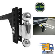 Dual Ball Mount Drop Adjustable Truck Trailer Hitch Tow Pin Receiver Heavy Duty