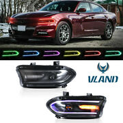 Led Projector Headlights Rgb Color Change Lamps For 2015-20 Dodge Charger Srt Gt