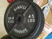 Olympic Barbell Plates 2 Solid Cast Iron Weight Plate 45lbs 20.4kg Pair 90lbs