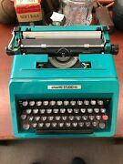 Vintage Olivetti Studio 45 Pica Manual Typewriter Teal Blue In Case Great Shape